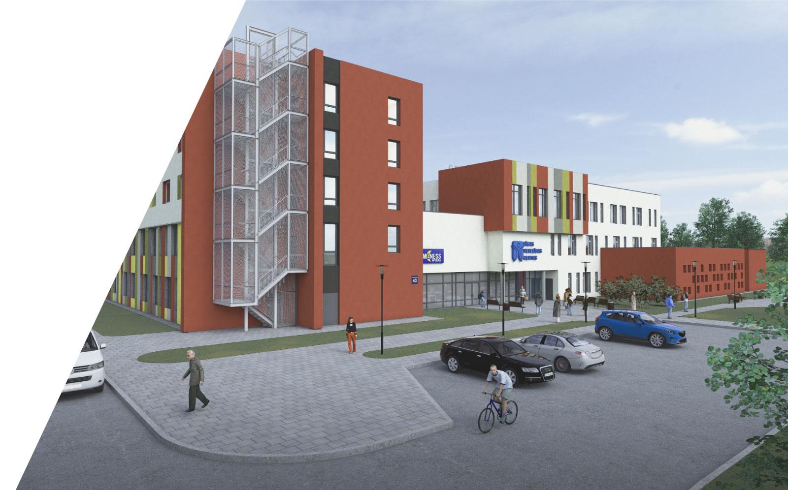 Trīs savstarpēji saistītas sociālās dzīvojamās mājas ar Rīgas sociālā dienesta teritoriālo centru, dienas centru un veselības centru Mežrozīšu ielā 43, Rīgā